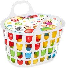 Пластмасови топки в кошница - Комплект от 50 броя - играчка