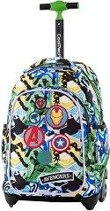 Ученическа раница с колелца - Jack: Avengers Badges -
