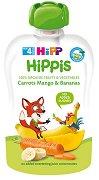HiPP HiPPiS - Био забавна плодова закуска от моркови, манго и банани - Опаковка от 100 g за бебета над 4 месеца -