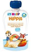 HiPP HiPPiS - Био забавна плодова закуска от праскова, банан, манго и йогурт - Опаковка от 100 g за бебета над 6 месеца - продукт