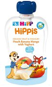HiPP HiPPiS - Био забавна плодова закуска от праскова, банан, манго и йогурт -