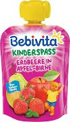 Bebivita - Забавна плодова закуска с ягода, ябълка и круша - Опаковка от 90 g за бебета над 12 месеца - продукт