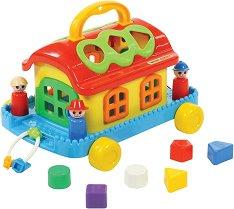 Сортер - Къща на колелца - Образователна играчка за сортиране - количка