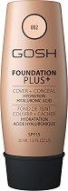 Gosh Foundation Plus+ - SPF 15 - Хидратиращ фон дьо тен и коректор в едно - фон дьо тен