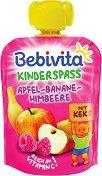 Bebivita - Забавна плодова закуска с ябълка, банан, малина и бисквити - Опаковка от 90 g за бебета над 12 месеца -