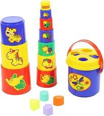 Кула от чаши - Животни - Играчка за сортиране - раница
