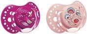 Силиконови динамични залъгалки със симетрична форма - Dynamic Folky - Комплект от 2 броя за бебета от 6 до 18 месеца - шише