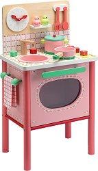 Детска кухня - Лила - Комплект от дърво с аксесоари -