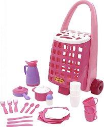 Кухненски сервиз в количка - Алиса - Детски комплект за игра -