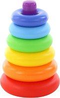 Конус с цветни рингове - Пирамида - Детски комплект за игра - играчка