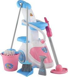 Количка за почистване - прахосмукачка - Детски комплект за игра -