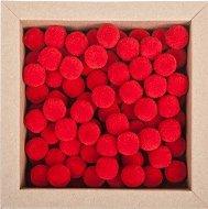 Червени декоративни помпони - Комплект от 120 броя