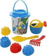 Комплект за пясък - Смърфовете - Детски комплект за игра - творчески комплект