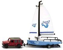 Метална количка Mercedes-AMG G65 и лодка - играчка