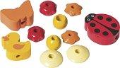 Дървени мъниста за аксесоар за бебешка залъгалка - Калинка - Комплект от 10 броя