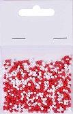 Стъклени мъниста за декорация - Червено и бяло - Опаковка от 20 g