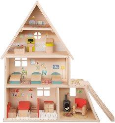 Дървена къща за кукли - Голямото семейство - Обзаведена с мебели -