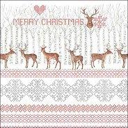 Салфетки за декупаж - Коледни елени - Пакет от 20 броя
