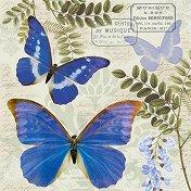 Салфетки за декупаж - Сини пеперуди - Пакет от 20 броя