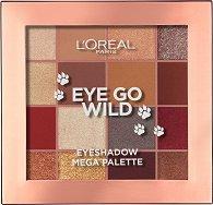 L'Oreal Eye Go Wild Eyeshadow Mega Palette - Палитра с 16 цвята сенки за очи - гланц