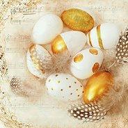 Салфетки за декупаж - Златни яйца - Пакет от 20 броя