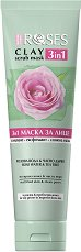 Nature of Agiva Roses Clay 3 in 1 Scrub Mask - Глинена маска за лице 3 в 1 с роза и чаено дърво - продукт