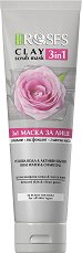 Nature of Agiva Roses Clay 3 in 1 Scrub Mask - Глинена маска за лице 3 в 1 с роза и активен въглен - маска