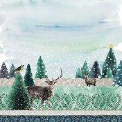 Салфетки за декупаж - Елени в гората - Пакет от 20 броя