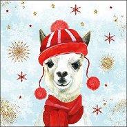 Салфетки за декупаж - Зимна лама - Пакет от 20 броя
