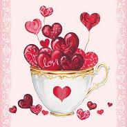 Салфетки за декупаж - Чаша пълна със сърца - Пакет от 20 броя