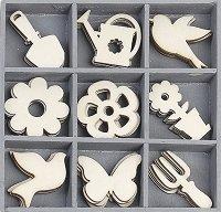 Дървени фигурки - Градински инструменти - Комплект от 45 броя в кутия