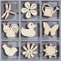 Дървени фигурки - Пролет - Комплект от 45 броя в кутия