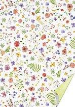 Двустранен картон за скрапбукинг - Акварелни цветя - С формат A4