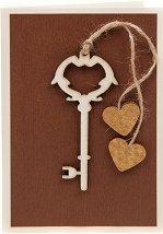 Поздравителна картичка - Ключ с две сърца -