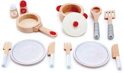 Детски сервиз - Сготви и сервирай - Дървен комплект за игра -