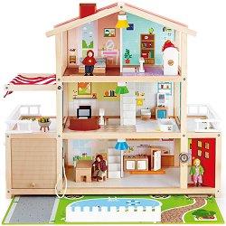 Дървена къща за кукли - Имение - Детски комплект за игра със звукови ефекти -