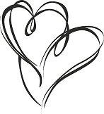 Гумен печат - Две сърца - Размери 5.4 x 5.9 cm