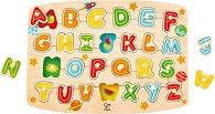 Азбука - Детски дървен пъзел с дръжки -