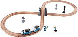 Пътнически влак с аксесоари - Детски дървен комплект за игра - количка