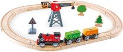 Товарен влак с аксесоари - Детски дървен комплект за игра - количка