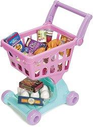 Пазарска количка с хранителни продукти за игра -