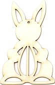 Фигурка от бирен картон - Заек с яйце - Предмет за декориране с размери 6 / 10 / 0.1 cm