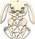 Дървена фигурка - Великденско зайче - Предмет за декориране с размери 6.8 / 8 / 0.2 cm