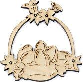 Дървена фигурка - Кошница с яйца - Предмет за декориране с размери 8 / 7.5 / 0.3 cm