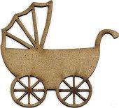 Фигурка от MDF - Бебешка количка - Предмет за декориране с размери 10 / 10 / 0.2 cm