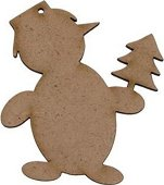 Фигурка от MDF - Снежен човек с елха