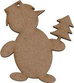 Фигурка от MDF - Снежен човек с елха - Предмет за декориране с размери 8 / 9.5 / 0.3 cm