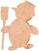 Фигурка от MDF - Снежен човек с метла - Предмет за декориране с размери 7.3 / 10 / 0.3 cm