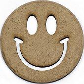 Фигурка от MDF - Усмивка - Предмет за декориране с размери ∅ 10 x 0.2 cm