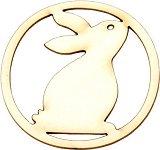 Фигурки от бирен картон - Зайче - Комплект от 2 броя предмети за декорация с размери 5 / 5 / 0.1 cm